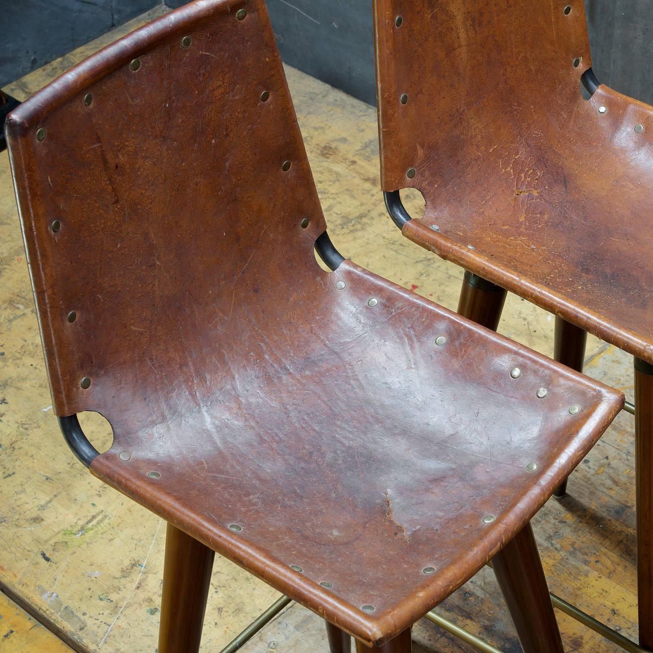 1960s Midcentury Leather Sling Iron Bar Stools At 1stdibs
