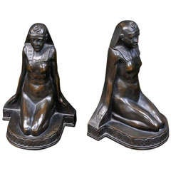 Egyptian Revival Bronze Griffoul Bookends Sculptures Statuettes
