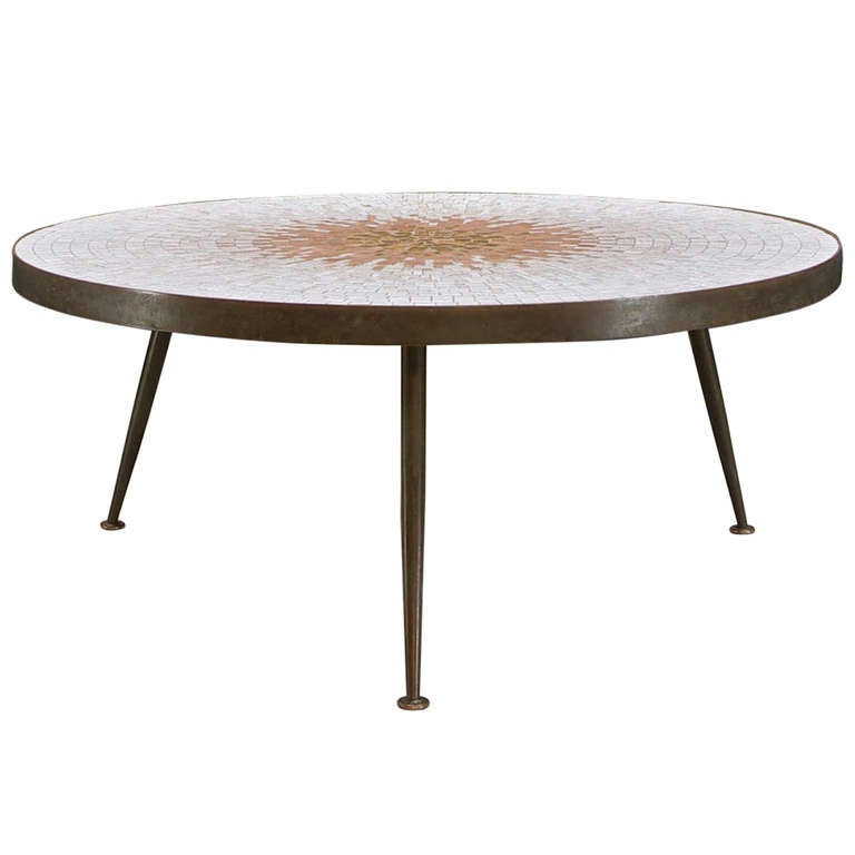 gio ponti sunburst tile coffee table at 1stdibs
