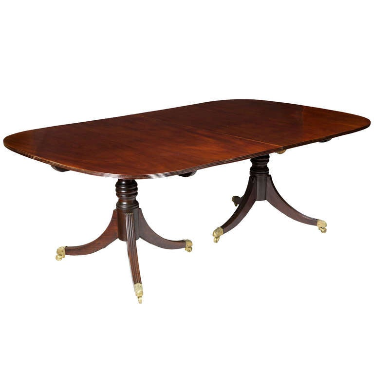 Large Regency Classical Double Pedestal Mahogany Dining Room Table England