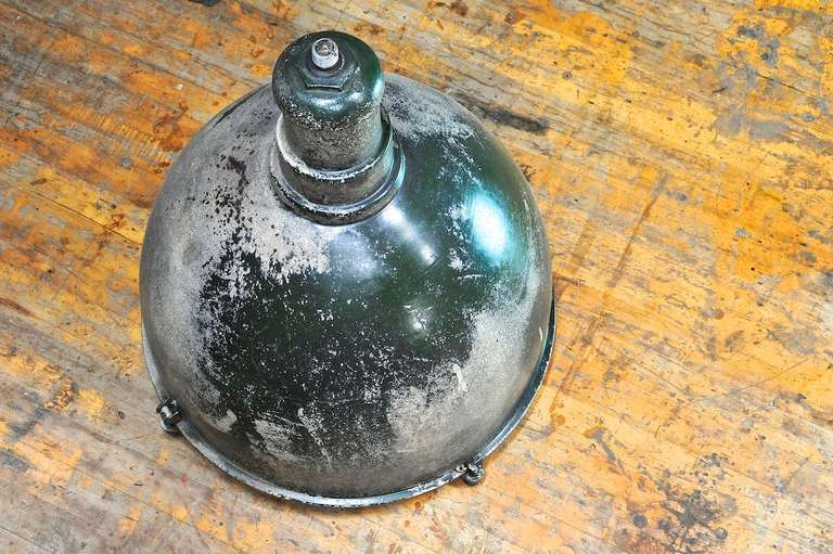 1930s Industrial Westinghouse Factory Pendant Bell Lamp with Glass Lens In Fair Condition For Sale In Washington, DC