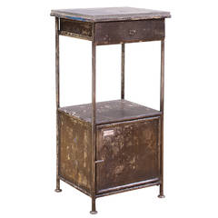 Industrial Alms Petite Industrial Steel and Slate Bedside Table with Cabinet