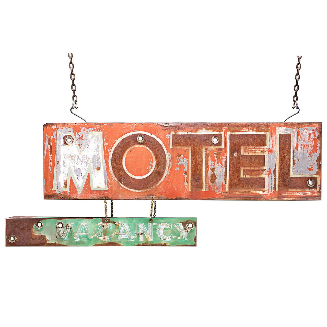 Monumental 1930s Hand-Painted Saltwash Motel And Vacancy