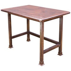 Industrial Rustic Bohemian Farm House Arborists Steel Table Drafting Work Island