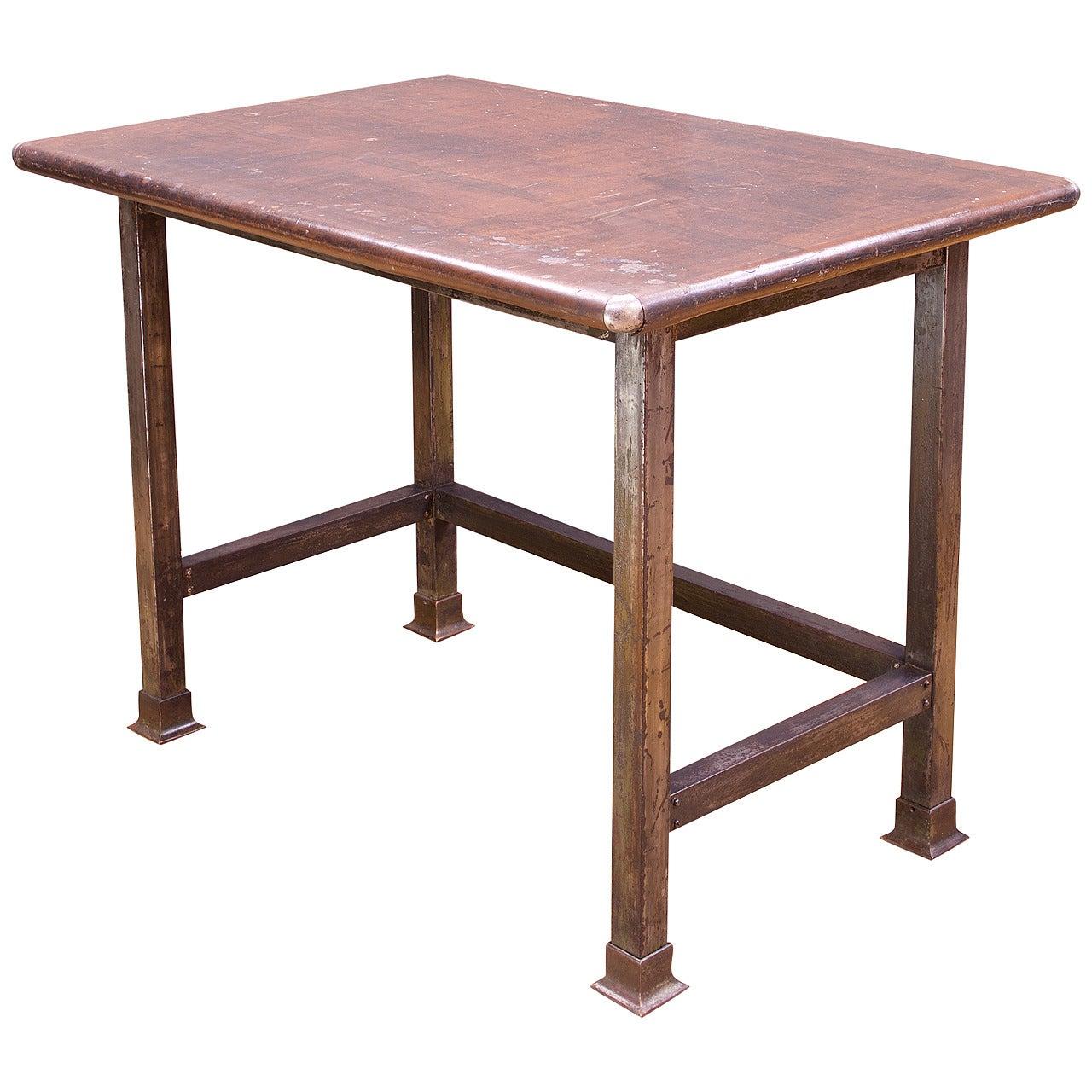 1910s Industrial Rustic Farmhouse Arborists Steel Table Drafting Work Island