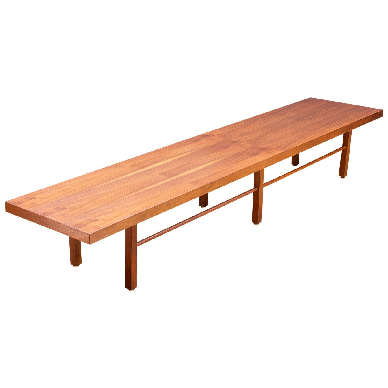 Low And Monumental Milo Baughman Walnut Coffee Table Bench At 1stdibs