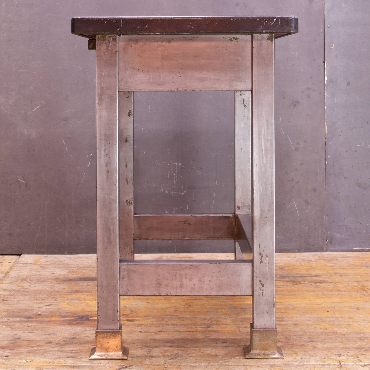 Early 20th Century Victorian Soapstone Laboratory Writing Desk Bohemian Rustic Farmhouse Steel Fire For Sale