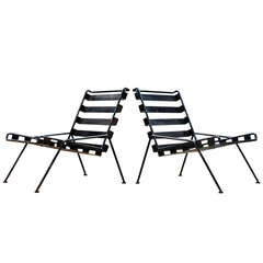 Unknown Craftsman One-Off Rod & Belt Steel Lounge Chairs