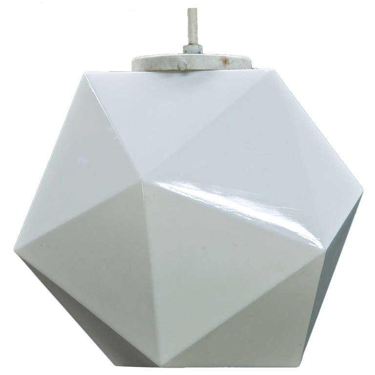 Vintage Midcentury George Nelson Attributed Faceted Geometric Pendant Globe Lamp