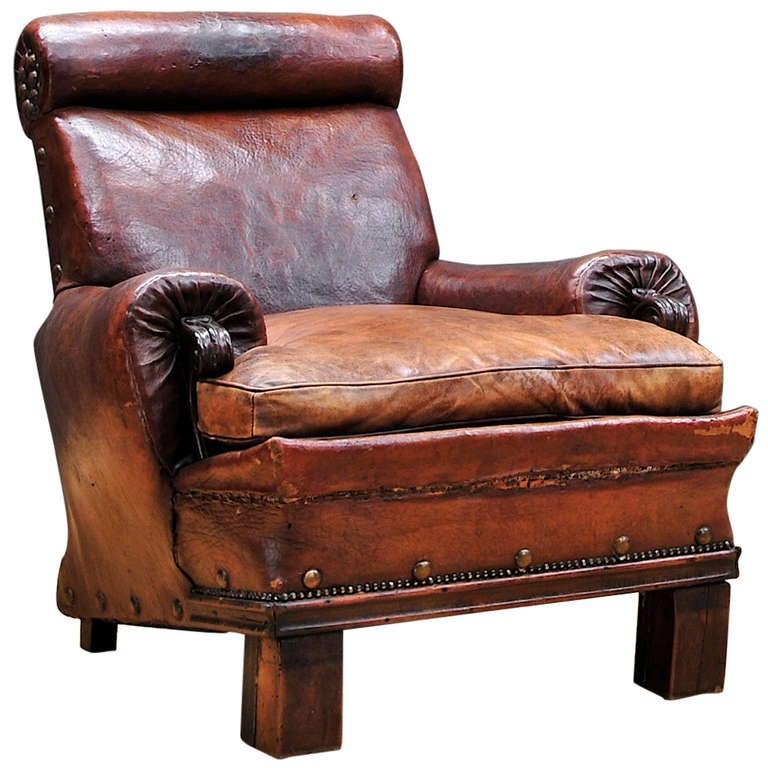 Civil War Era 19th Century Leather Club Chair Armchair At