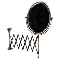 Victorian Industrial Age Oval Bronze Toned Scissor Accordian Wall Mount Mirror