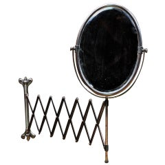 Victorian Industrial Age Oval Bronze Toned Scissor Accordion Wall Mount Mirror