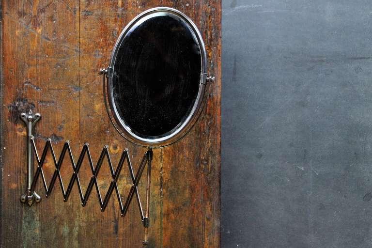Industrial Wall Mirror victorian industrial age oval bronze toned scissor accordian wall