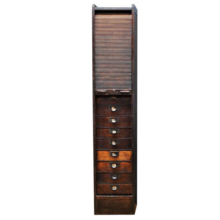 1880u0027s Globe Shaw Walker Monumental Oak Tambour Door Roll Top Tall File  Cabinet For Sale