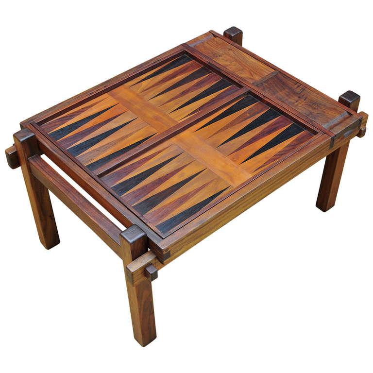 Danish Teak Game Table Backgammon Chess At 1stdibs