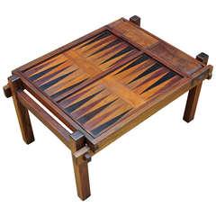 Danish Teak Game Table Backgammon Chess