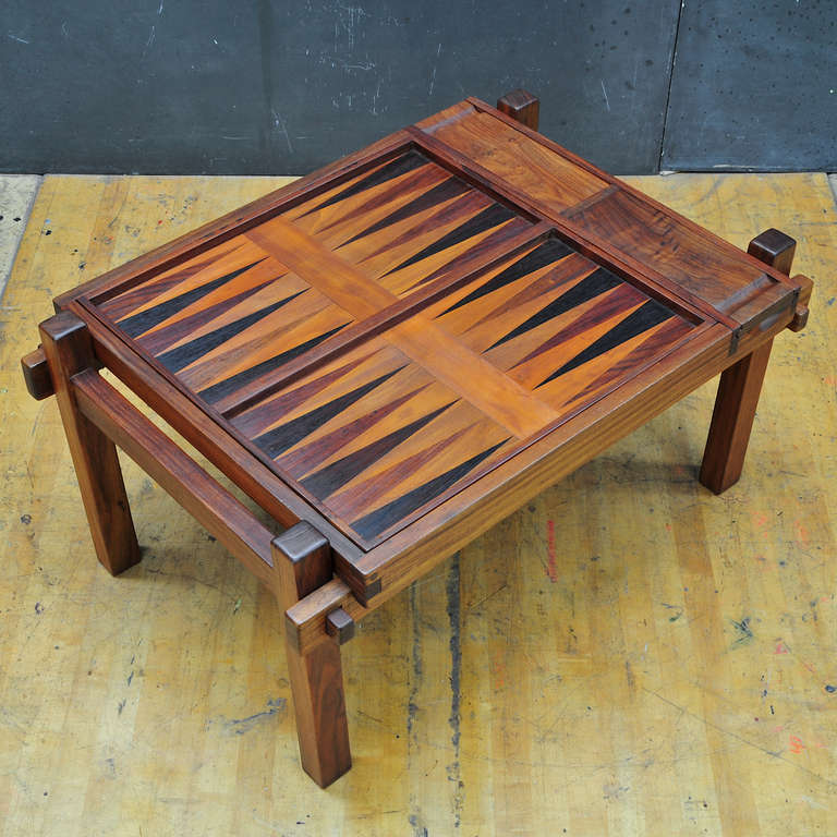 Rare Vintage Modern Danish Teak Gaming Table Chess And