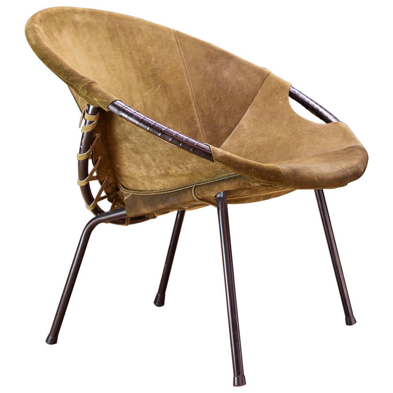 1960s Lusch Circle Chair in Greenish Brown Suede Leather at 1stdibs