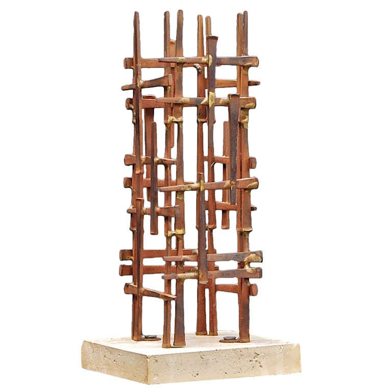 Mid-Century Skyscraper Iron Spike Masonry Nail Tower Sculpture