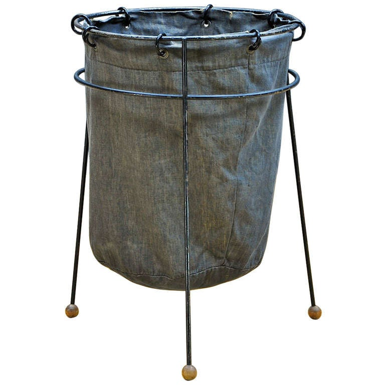 Attractive 1950s Mid Century Atomic Era Post Office Wire Linen Trash Can Seymour  Robins 1