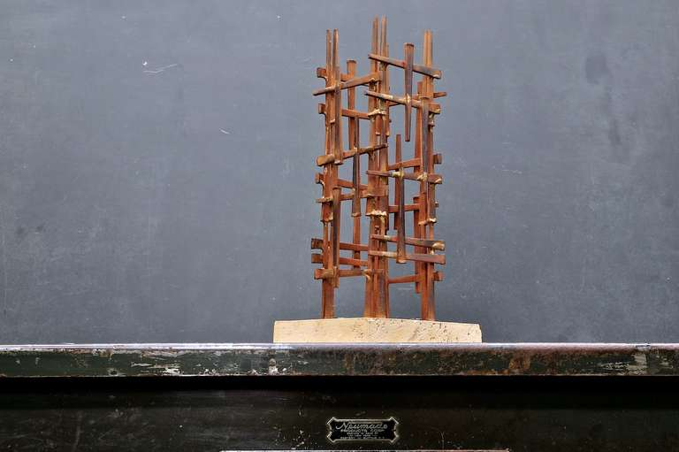 Forged Mid-Century Skyscraper Iron Spike Masonry Nail Tower Sculpture For Sale