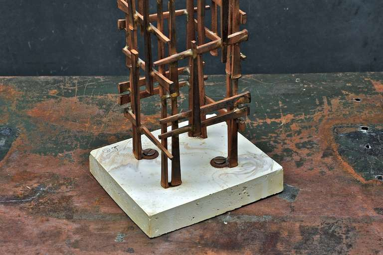 Mid-Century Skyscraper Iron Spike Masonry Nail Tower Sculpture In Good Condition For Sale In Washington, DC