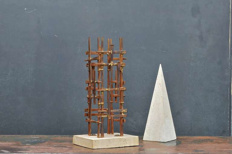 Mid-Century Modern Mid-Century Skyscraper Iron Spike Masonry Nail Tower Sculpture For Sale
