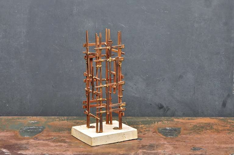 American Mid-Century Skyscraper Iron Spike Masonry Nail Tower Sculpture For Sale