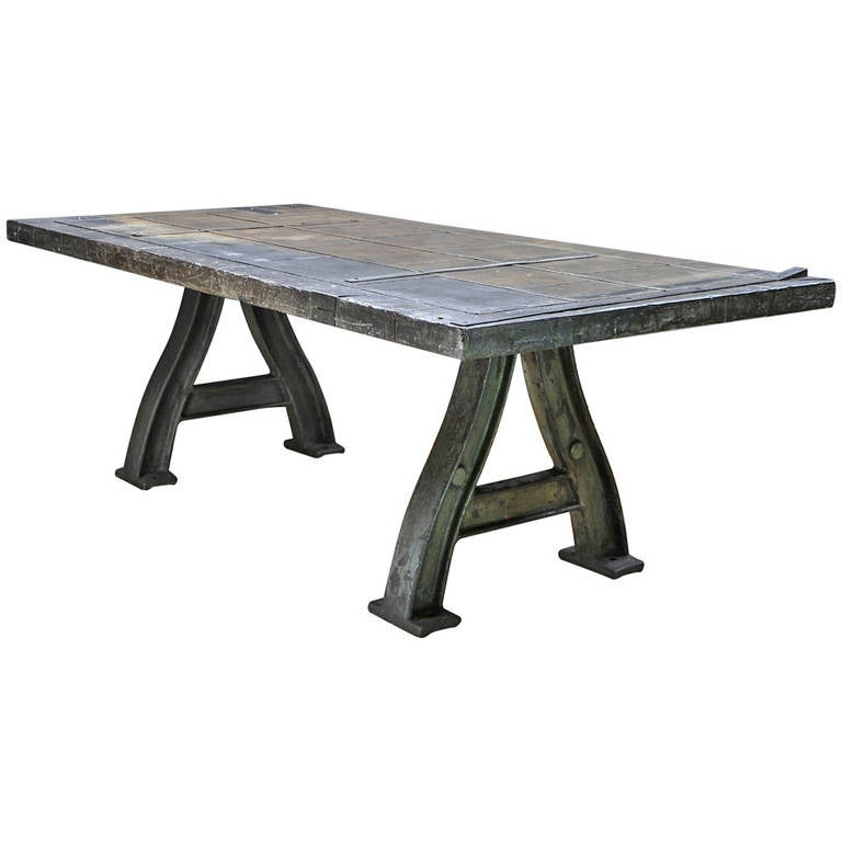 Monumental Cast Iron Turbine Leg Dining Table For