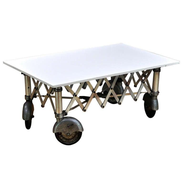 Industrial Casters For Coffee Table: 1930's Vintage Industrial Vitrolite Slab Streamline Caster