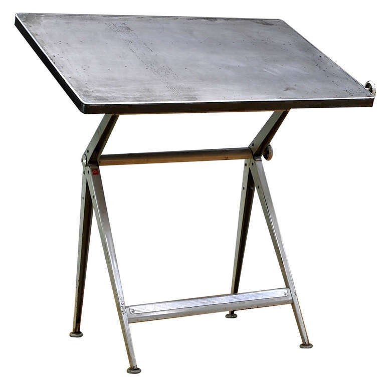 Mid-Century Dutch Modern Rietveld Steel Reply Drafting Table 1