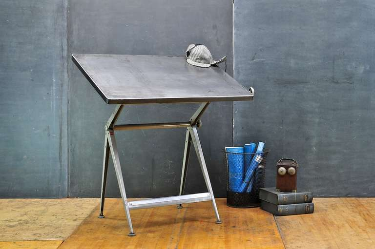 Mid-Century Dutch Modern Rietveld Steel Reply Drafting Table 2