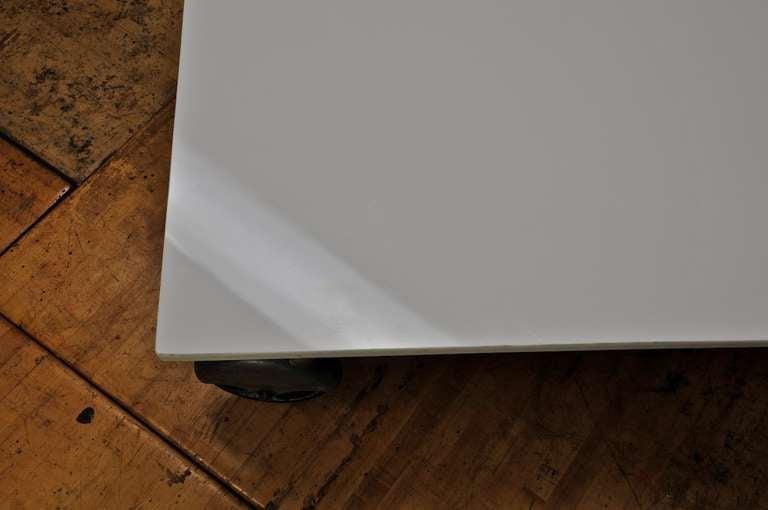 1930s vintage industrial white vitrolite glass slab caster
