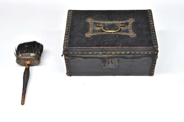 American 1810s Federal Period Leather Document Box by Robert Burr For Sale