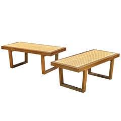 Mid-Century Craftsman Cane Woven Walnut Benches
