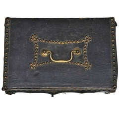1810s Federal Period Leather Document Box by Robert Burr
