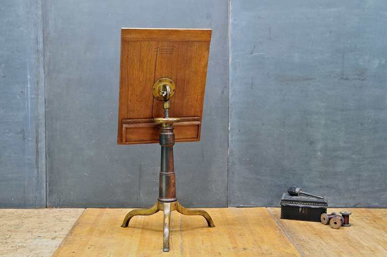 1870s Victorian Wood Cast Iron Drafting Table Podium Stand