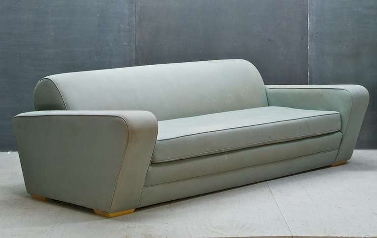 USA, c.1930s. Paul Frankl Speed Sofa, Re-Upholstered in the Last Decade but the Fabric is Faded and Stained. Sofa Frame Sturdy and Foam is Good.