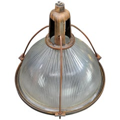 Monumental 1910s Vintage Industrial Holophane Warehouse Pendant Light Cast Iron