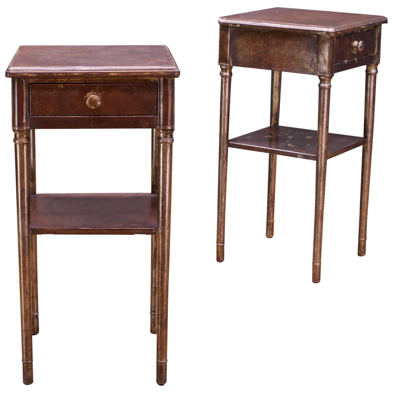1920s victorian industrial steel city hotel nightstands for Nightstands and bedside tables