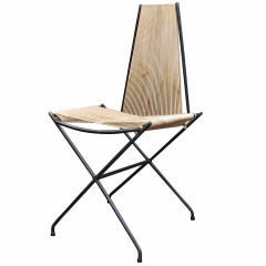 Rare Low Production Iron Rod String Chair by Detroit Modernist Architect