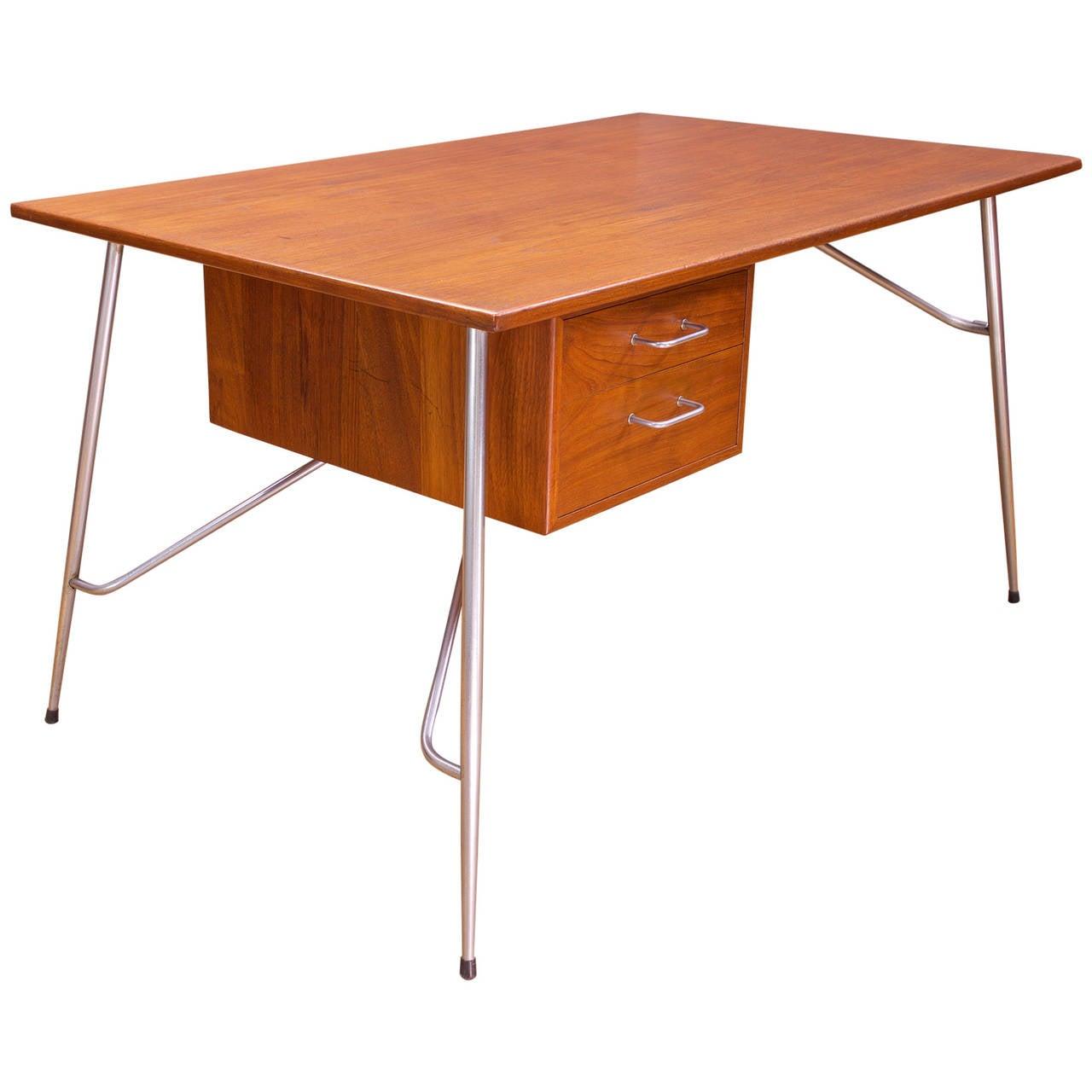 Rare Borge Mogensen Teak and Steel Desk Vintage Mid-Century Soborg Mobler For Sale