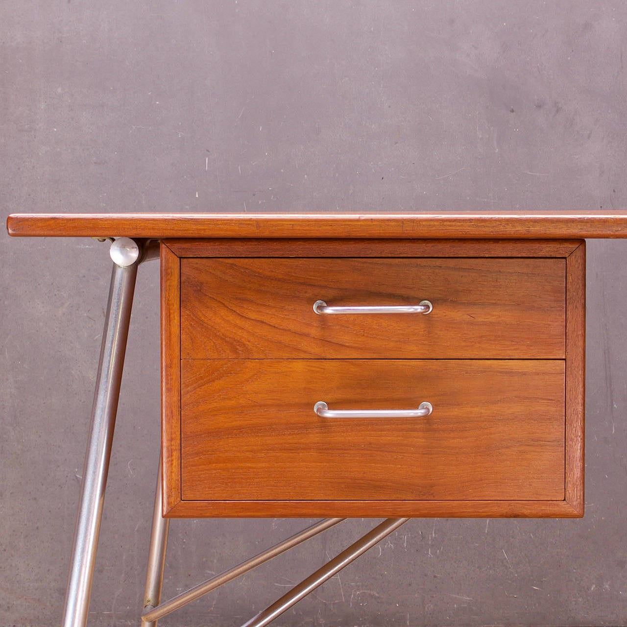 Rare Borge Mogensen Teak and Steel Desk Vintage Mid-Century Soborg Mobler In Fair Condition For Sale In Washington, DC