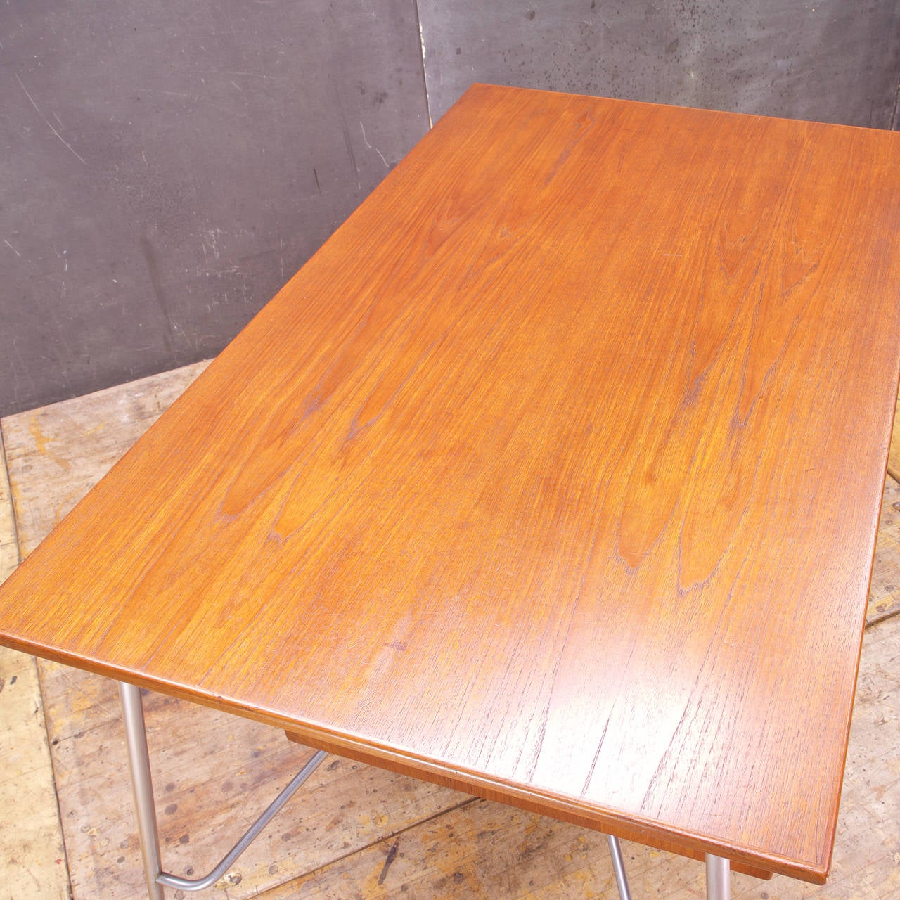 Mid-20th Century Rare Borge Mogensen Teak and Metal Desk For Sale