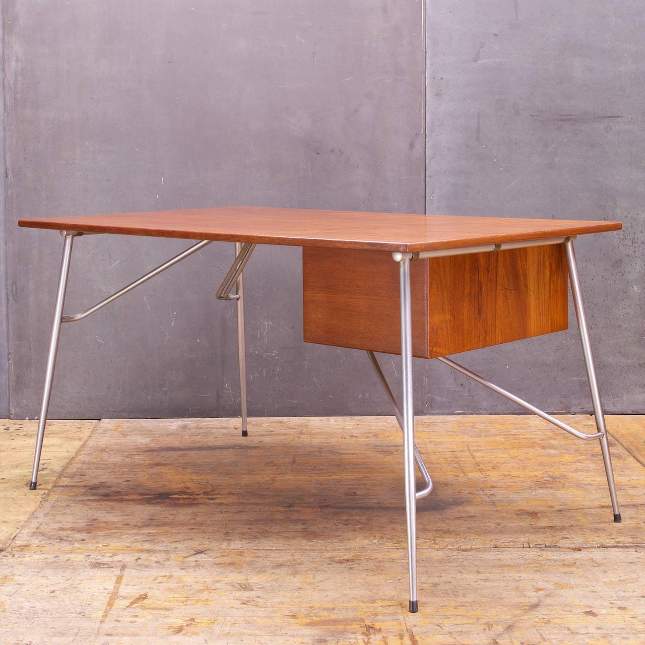 Danish Rare Borge Mogensen Teak and Steel Desk Vintage Mid-Century Soborg Mobler For Sale