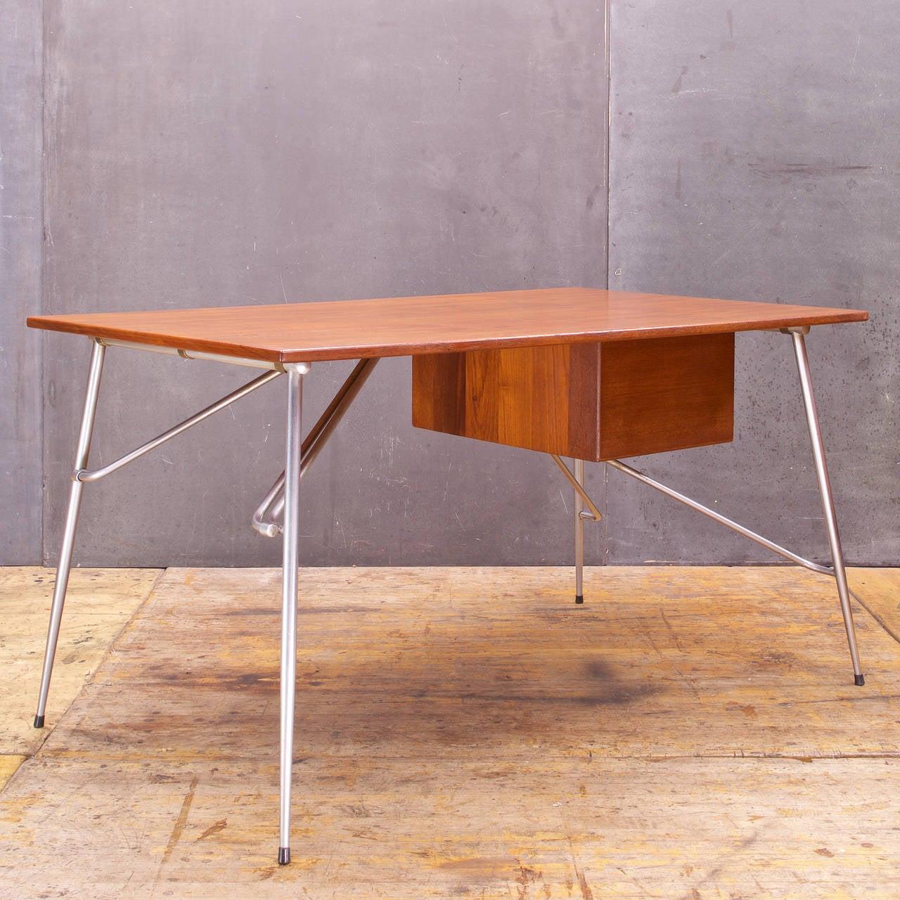 Scandinavian Modern Rare Borge Mogensen Teak and Steel Desk Vintage Mid-Century Soborg Mobler For Sale