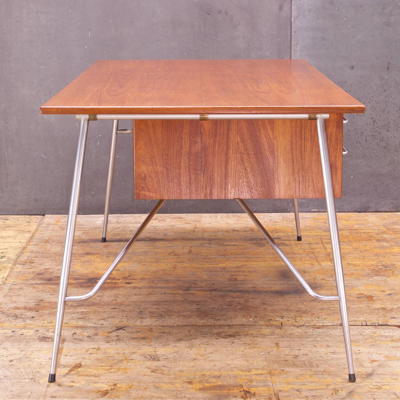 Oiled Rare Borge Mogensen Teak and Steel Desk Vintage Mid-Century Soborg Mobler For Sale