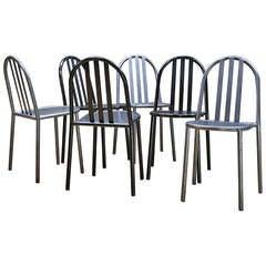 Three Grey Robert Mallet-Stevens Model No.222 Chairs Bauhaus French Stacking