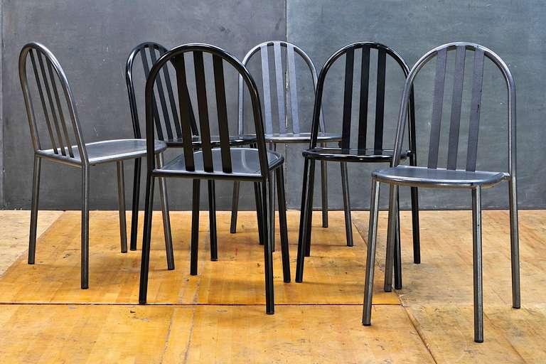 Three Grey Robert Mallet Stevens Model No.222 Chairs Bauhaus French  Stacking 2