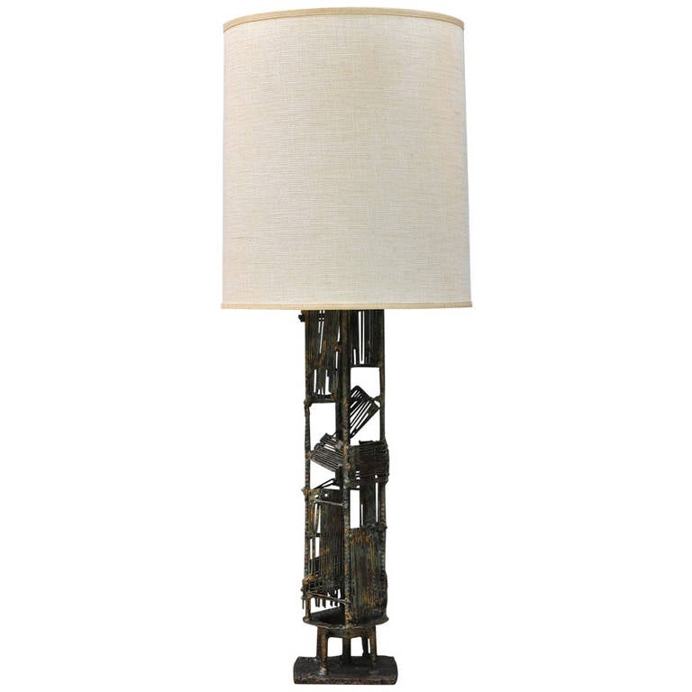 Monumental 1960s Brutalist Welder Art Table Lamp Without Shade 1